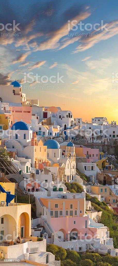 Santorini village of Oia on Greece at sunrise stock photo