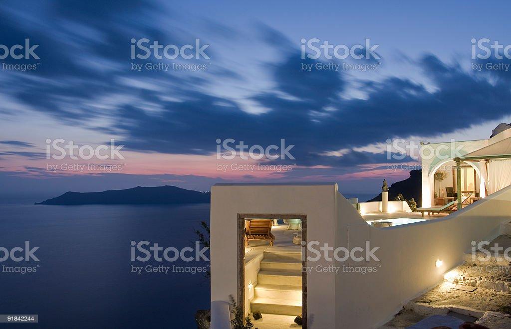 Santorini's villa royalty-free stock photo
