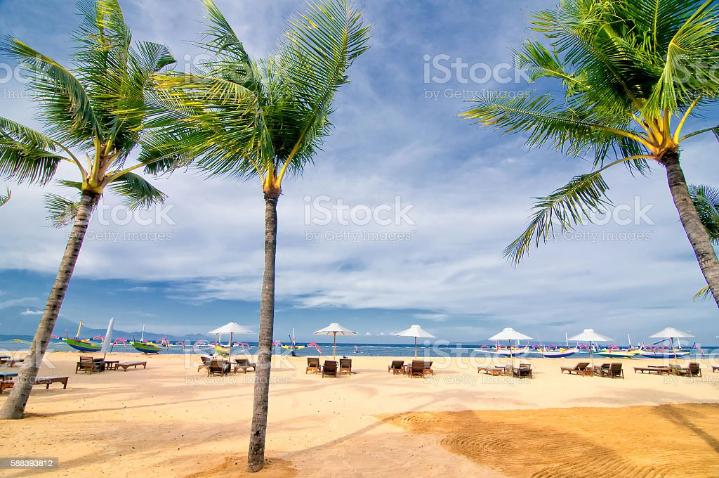 Sanur beach on Bali island, Indonesia stock photo