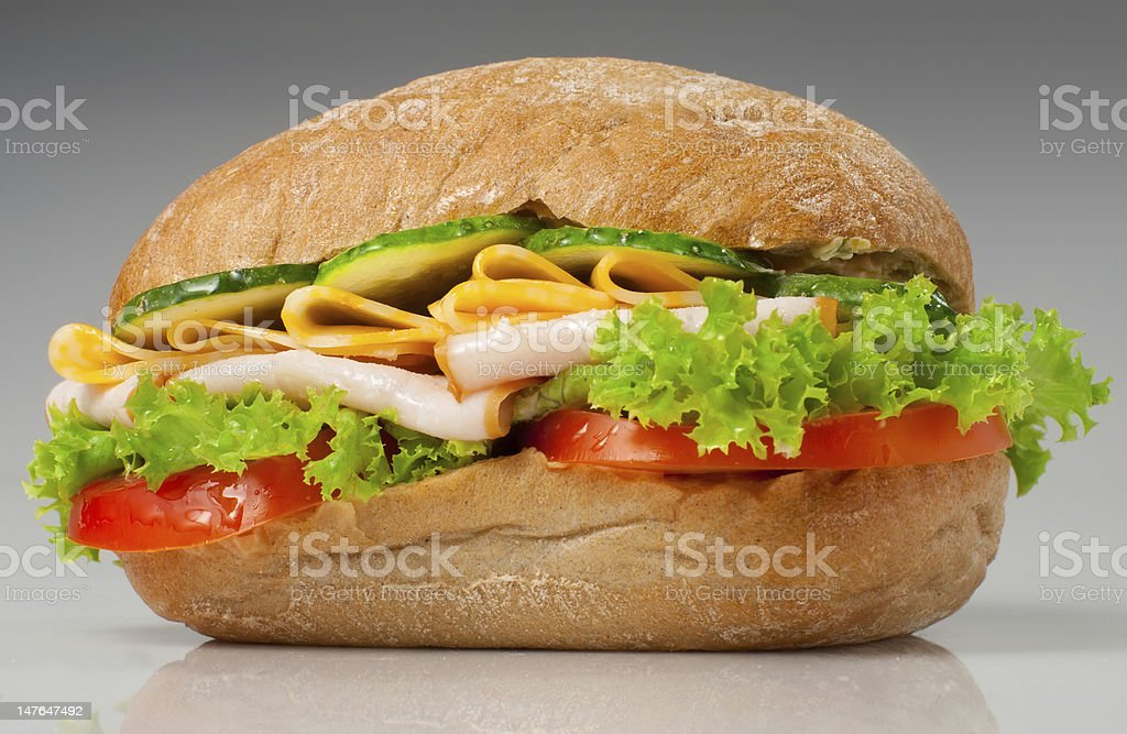 Sanwich with chiken and cheese royalty-free stock photo