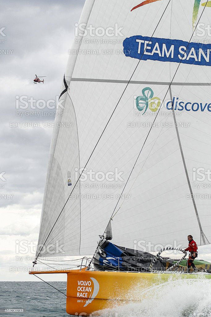 Sanya team during the Volvo Ocean Race 2.011-2.012 royalty-free stock photo