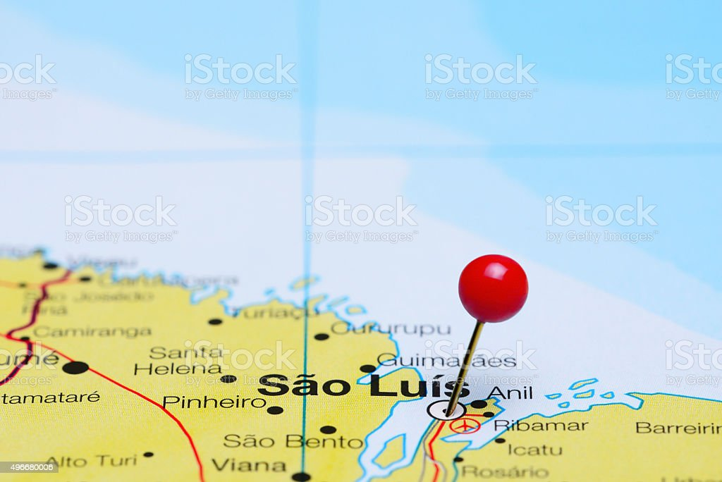Sao Luis pinned on a map of Brazil stock photo