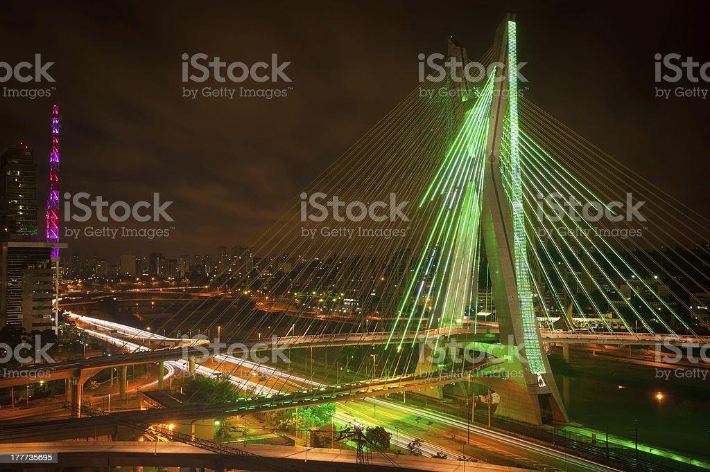 Sao Paul city bridge at night stock photo