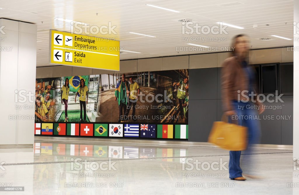 Sao Paulo airport during the 2014 Soccer World Cup stock photo