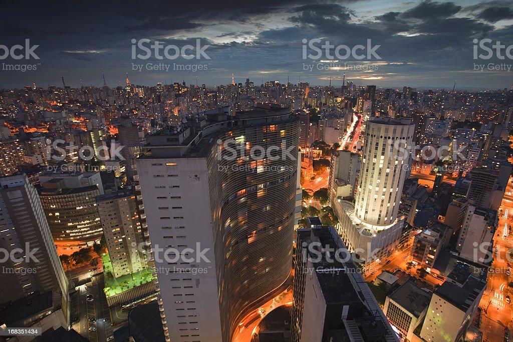Sao Paulo at night royalty-free stock photo