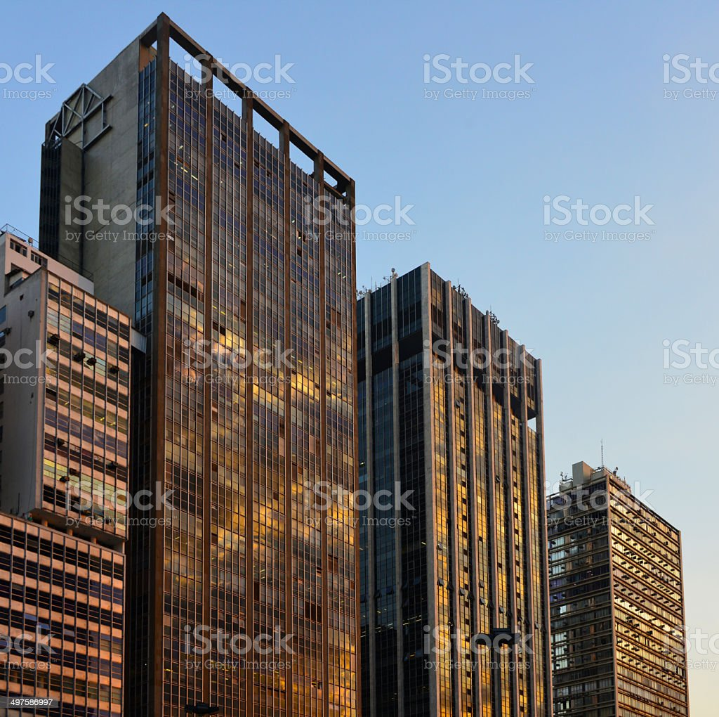 S?o Paulo, Brazil: skyscrapers at sunset stock photo