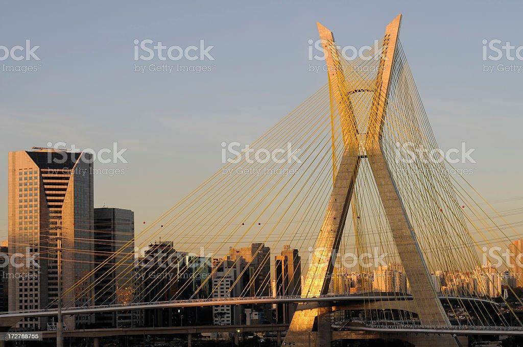 Sao Paulo bridge on a summers evening royalty-free stock photo