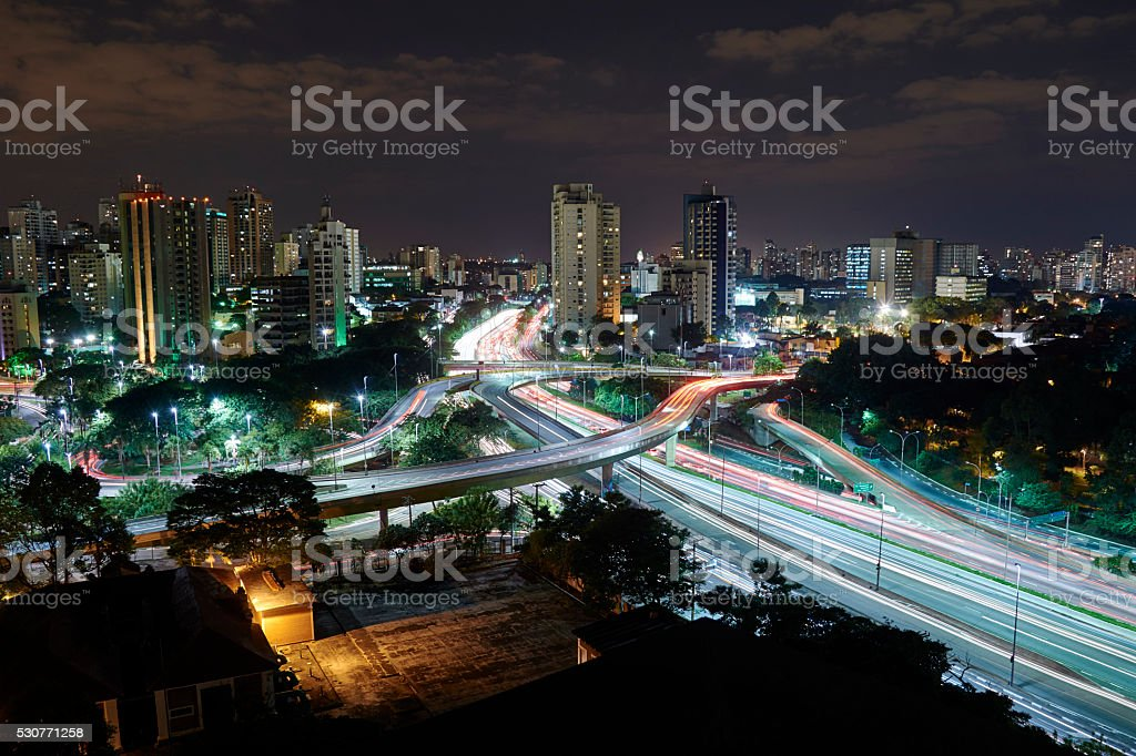 Sao Paulo city at night, Brazil stock photo