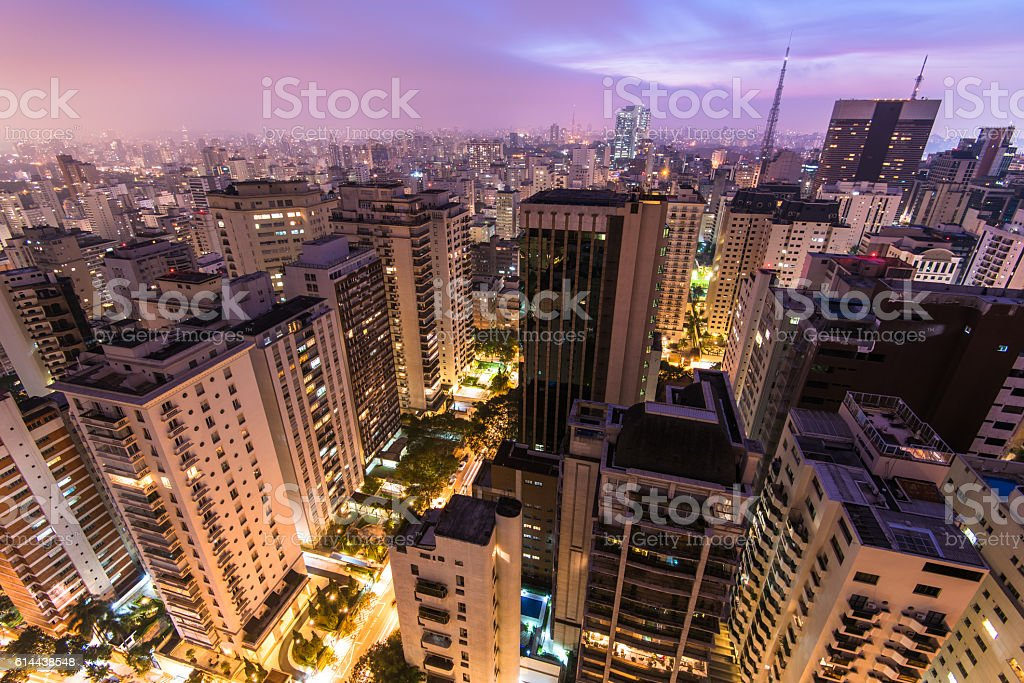 Sao Paulo City at Night stock photo