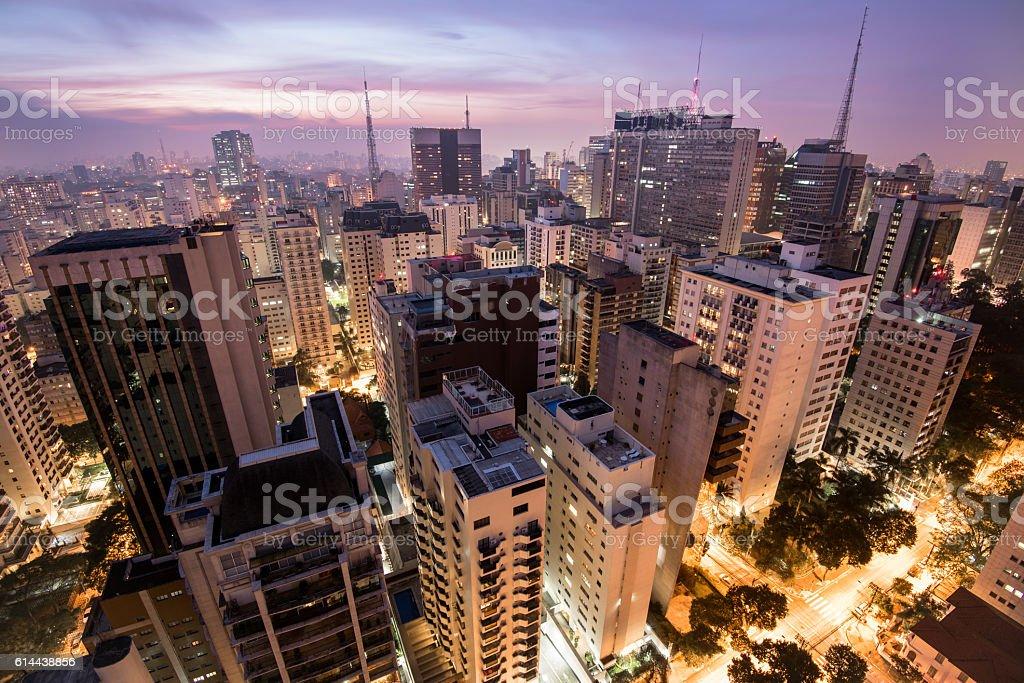 Sao Paulo City at Night stock photo