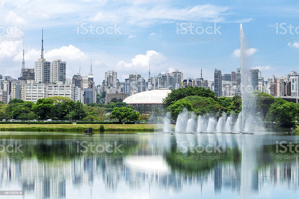 Sao Paulo city from Ibirapuera Park, Brazil stock photo