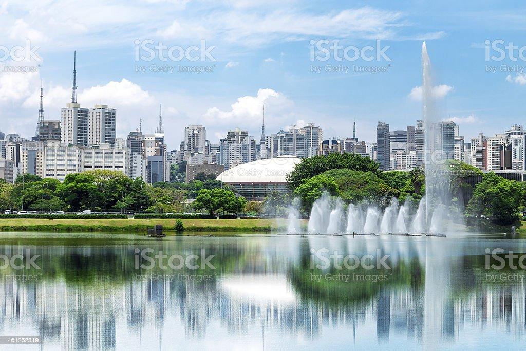 Sao Paulo city from Ibirapuera Park, Brazil stock photo