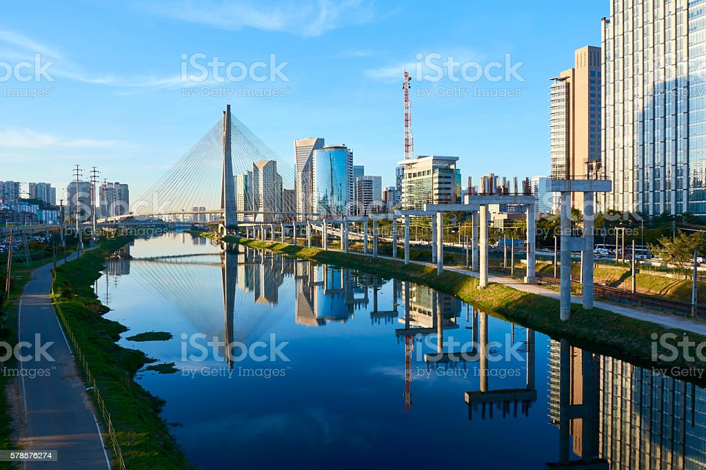 Sao Paulo Estaiada Bridge Brazil stock photo