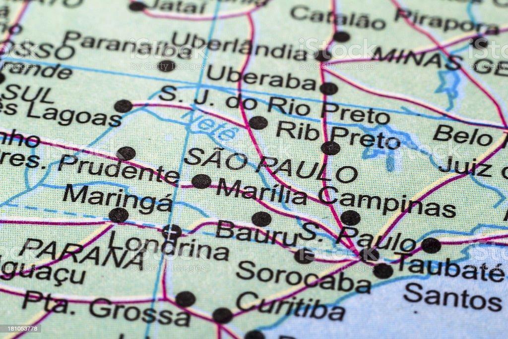 Sao Paulo map royalty-free stock photo