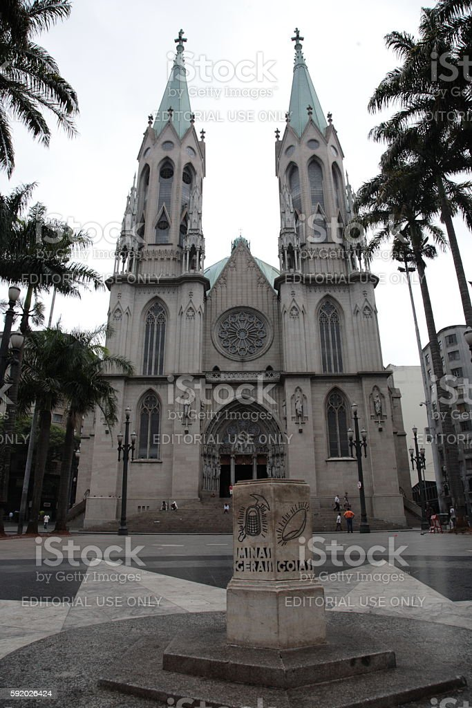 Sao Paulo See Metropolitan Cathedral and ground zero, Brazil stock photo