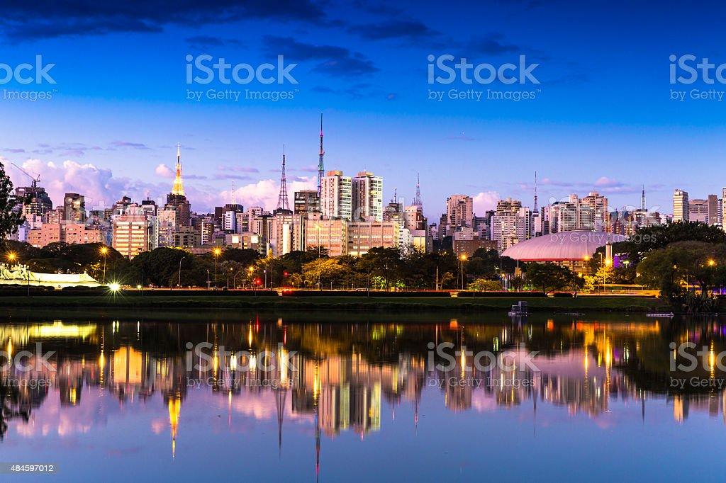 Sao Paulo skyline at night in Brazil stock photo