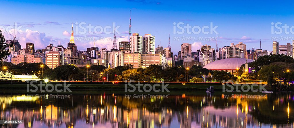 Sao Paulo skyline at night in Brazil stock photo