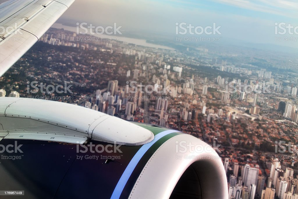 Sao Paulo view from airplane royalty-free stock photo