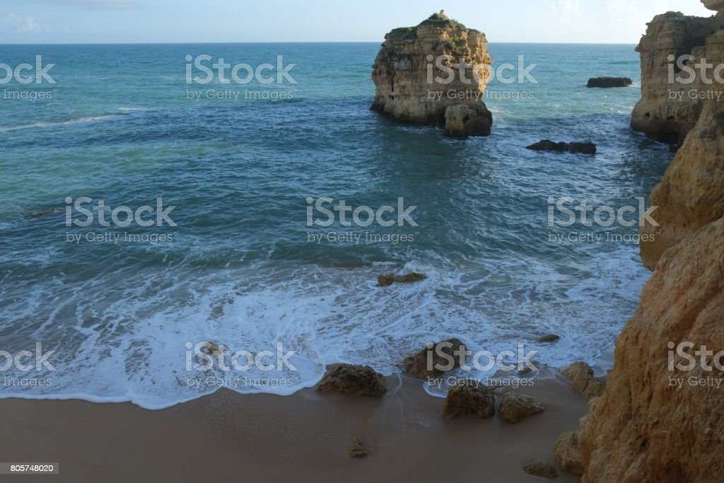 Sao Rafael Beach in Albufeira. Algarve, Portugal stock photo