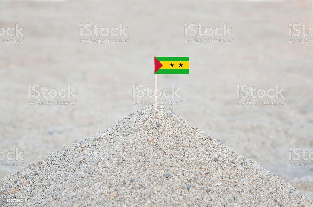 Sao Tome and Principe Flag on the Beach stock photo