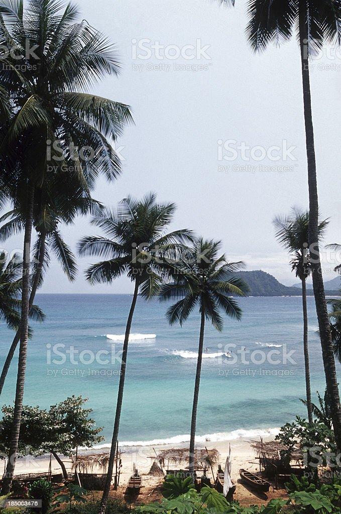 Sao Tome and Principe, Rolas Island, surfing at Fisherman's Bay. stock photo