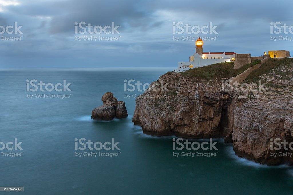 Sao Vicente Cape Lighthouse at dawn, Sagres, Portugal. stock photo