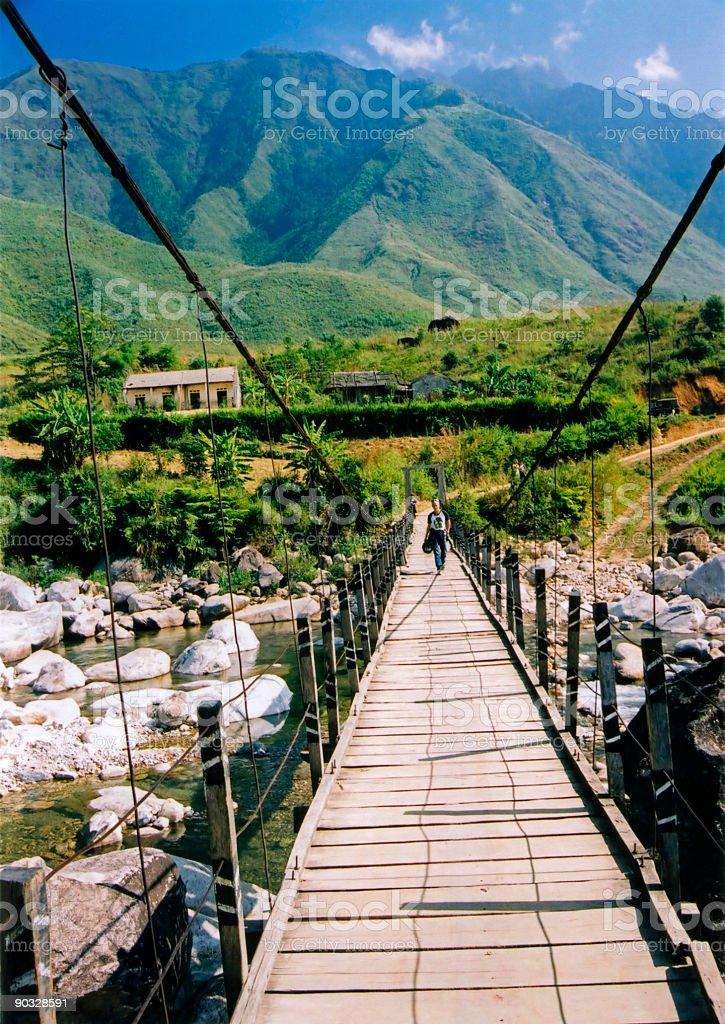sapa bridge mountains northern vietnam royalty-free stock photo