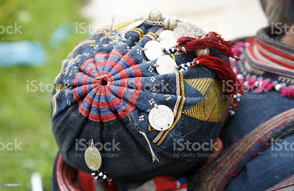 Sapa child's colorful hat, Vietnam royalty-free stock photo