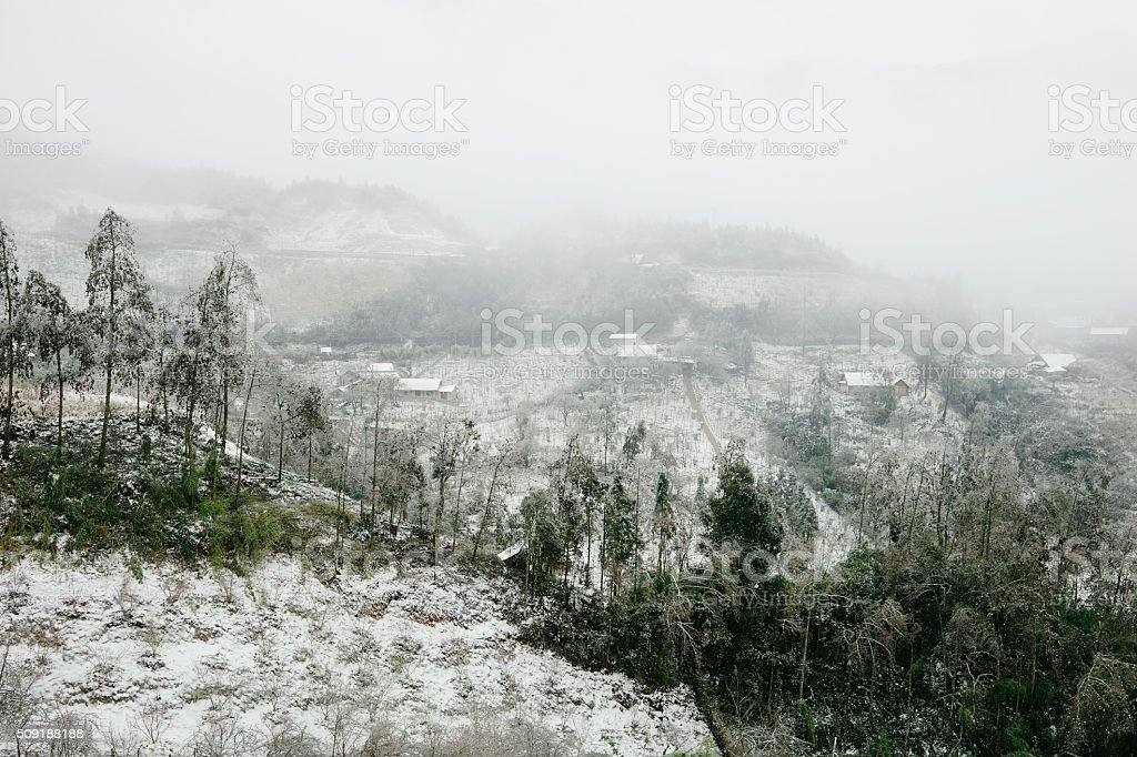Sapa Town covered in snow stock photo