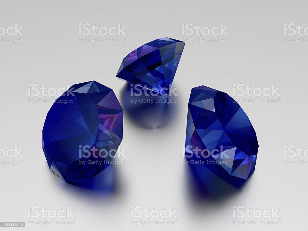3D Sapphire - 3 Blue Gems royalty-free stock photo