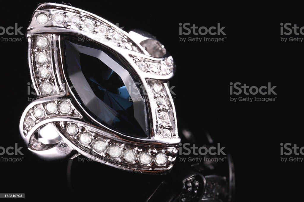 Sapphire & Diamond Ring royalty-free stock photo