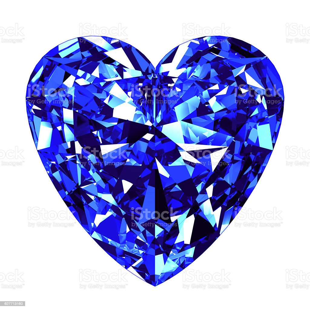 Sapphire Heart Cut Over White Background stock photo