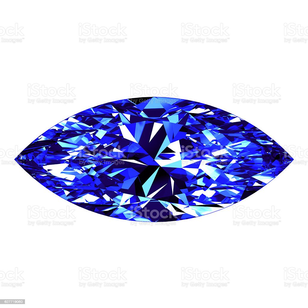 Sapphire Marquise Cut Over White Background stock photo