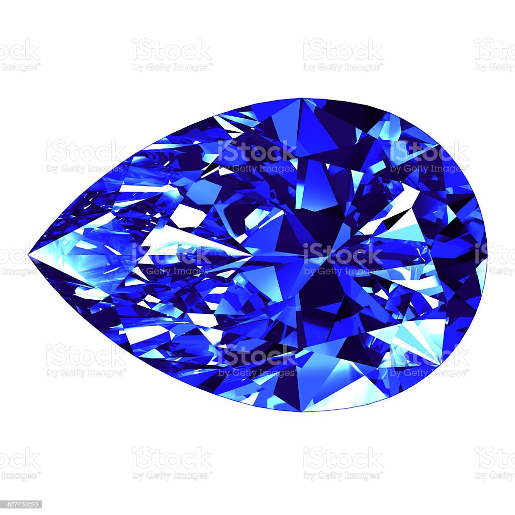 Sapphire Pear Cut Over White Background stock photo