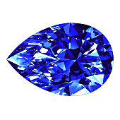 Sapphire Pear Cut Over White Background