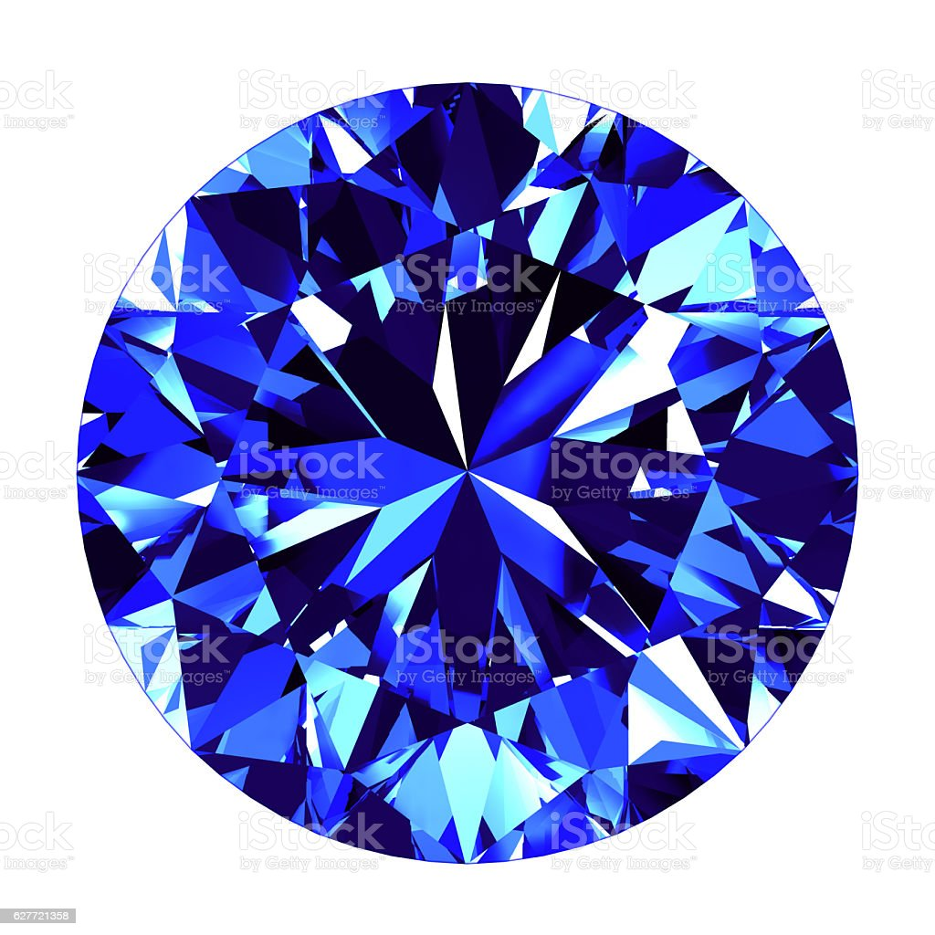 Sapphire Round Cut Over White Background stock photo