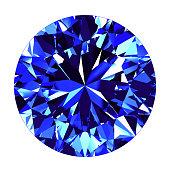 Sapphire Round Cut Over White Background