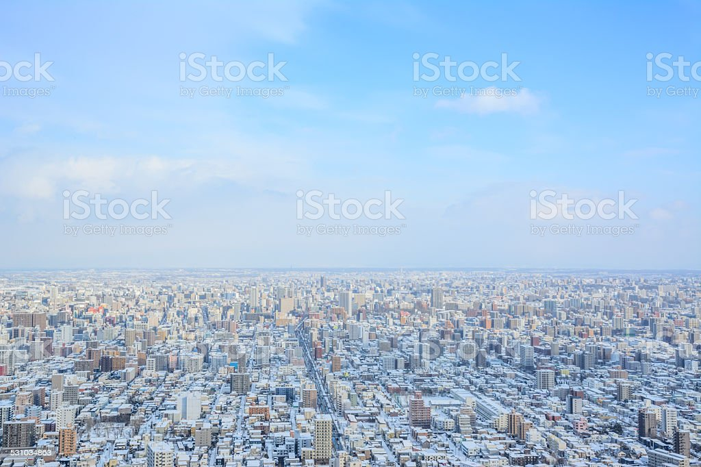 Sapporo City View from Maruyama Mountain stock photo