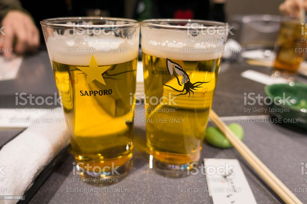 Sapporo Classic Beer Hakodate Edition - Two Full Glasses stock photo