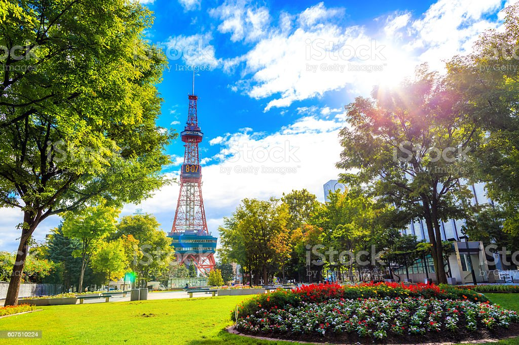 Sapporo, Japan -  9 September 2016 - Television tower stock photo