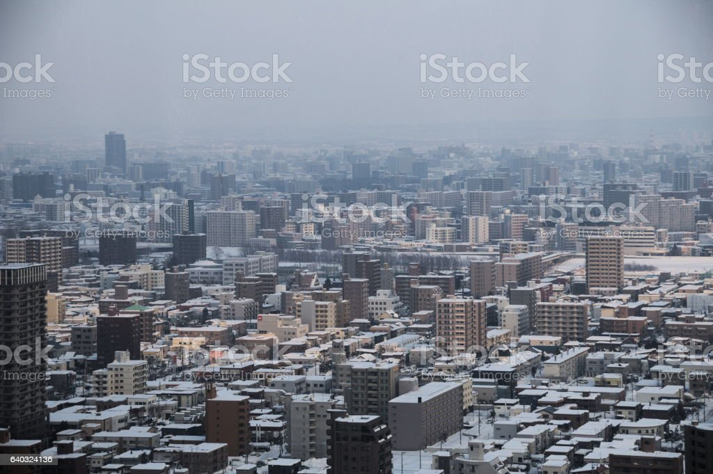 Sapporo on an overcast day in the snow stock photo