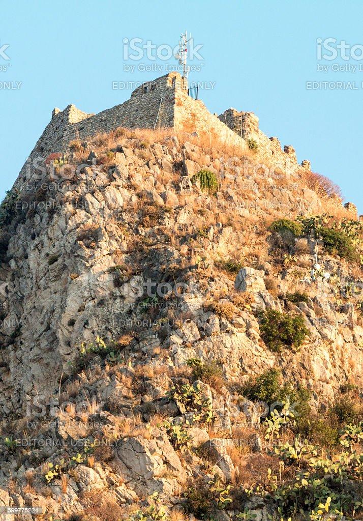Saracen Castle in Taormina, Sicily stock photo