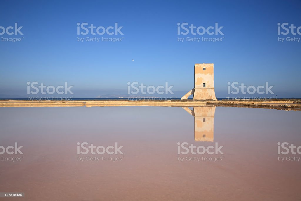 Saracen tower and salt field royalty-free stock photo