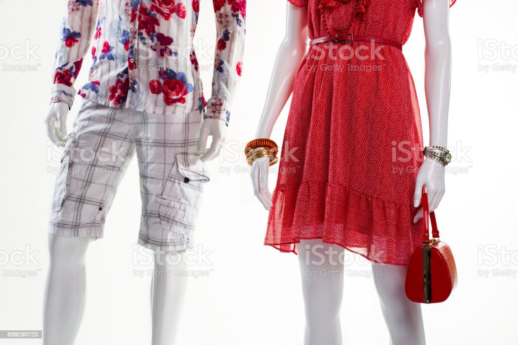 Sarafan and shorts on mannequins. stock photo