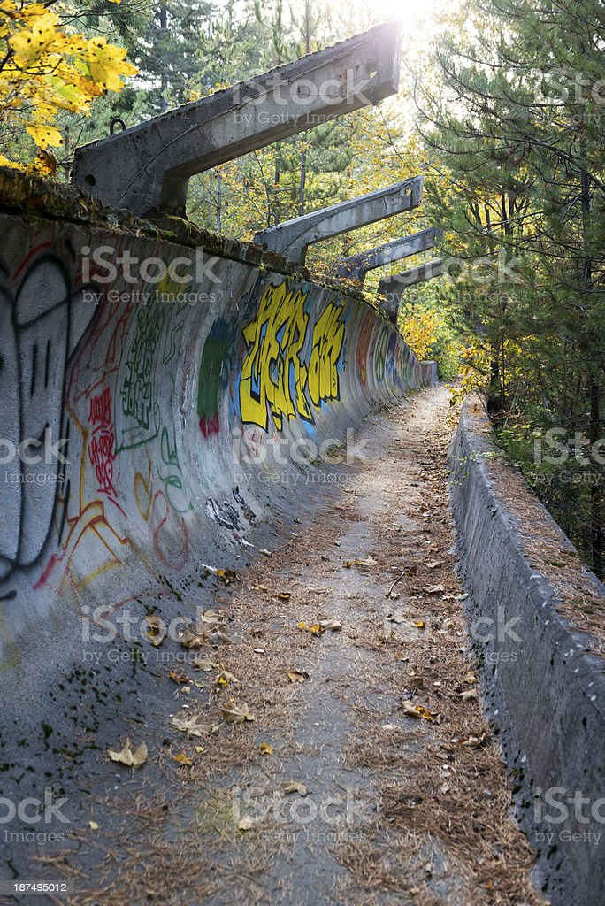 Sarajevo Olympics abandoned bobsled and luge track in Bosnia stock photo