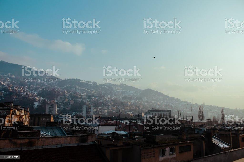 Sarajevo rooftop view stock photo