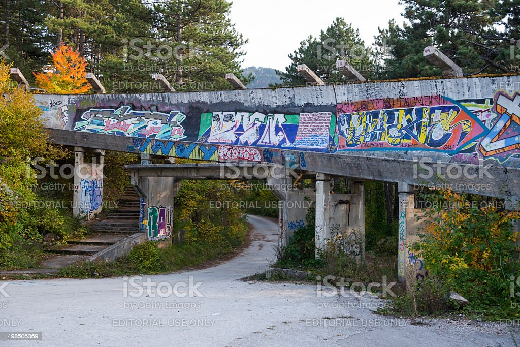 Sarajevo Winter Olympics abandoned bobsled and luge track stock photo