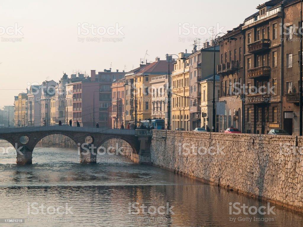 Sarajevo's river stock photo