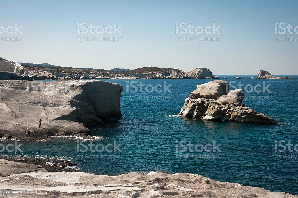 Sarakiniko beach, sur l'île de Milos, Grèce photo libre de droits