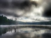 Saranac Lake Fog Overcast Weather, Gray Calm Mountain Water Reflection